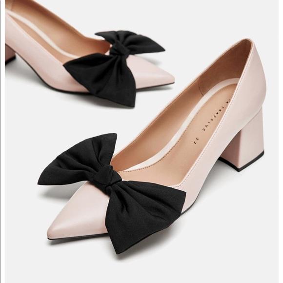 8a582c5be46 New Zara women s block heel pink bows sz 40   9